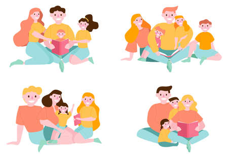 Child reading book with parents. Happy parents and child spend time together. Family activity. People reading book set. Collection of man and woman who read at home. Flat vector illustration Vettoriali