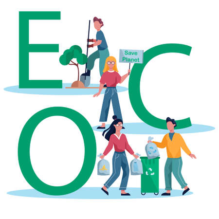 Ecology and recycle concept illustration. Idea of environmental protection and global ecosystem. Banner or poster for website. Isolated flat vector illustration Çizim