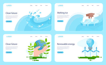 Keep Earth clean idea. Ecology and environment care. Idea of renewable energy and global warming. Web banner. Illustration in cartoon style Vektorgrafik