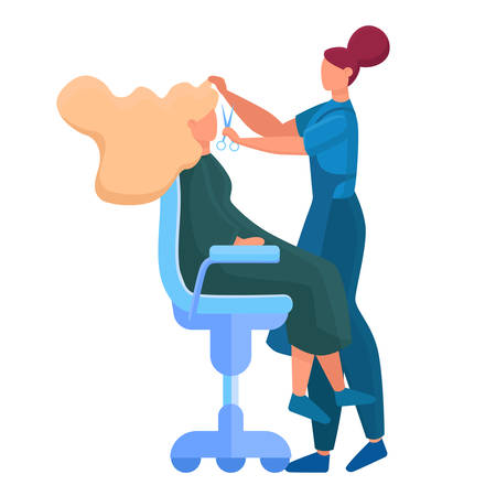 Beauty center service concept. Beauty salon visitors having diffrent procedure. Female character in salon. Hair treatment and styling. Isolated vector illustration 일러스트