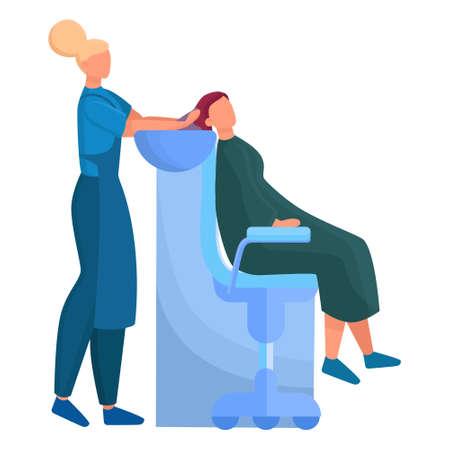 Servicekonzept des Schönheitszentrums. Schönheitssalonbesucher mit unterschiedlichem Verfahren. Weiblicher Charakter im Salon. Haarbehandlung und Styling. Isolierte Vektorillustration Vektorgrafik