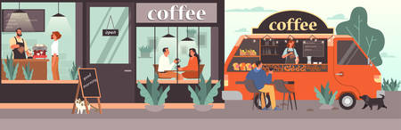 People having lunch in coffee shop. Female and male characters drink coffee in coffee shop. Mobile coffee shop track. Isolated vector illustration