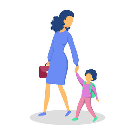 Beautiful mother walk her kid to school. Happy child and mom spend time together. Love and happiness. Isolated vector illustration in cartoon style