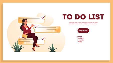 Businesswoman with a long to do list. Big task document. Woman looking at their agenda list. Time management concept. Idea of planning and productivity. Isolated vector illustration set Ilustração