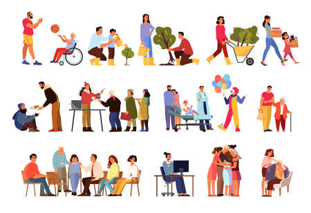 Volunteer help people set. Collection of charity community support old and sick people, donate clothes, give a food, plant a tree. Idea of care and humanity. Isolated vector illustration