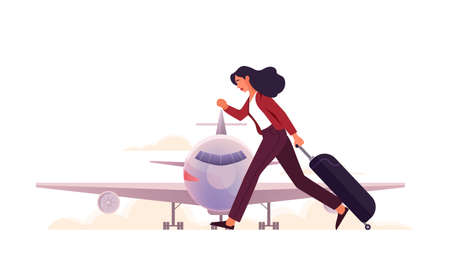 Woman at the airport running with luggage. Tourists with baggage. Idea of travel and vacation. Plane arrival. Isolated vector illustration