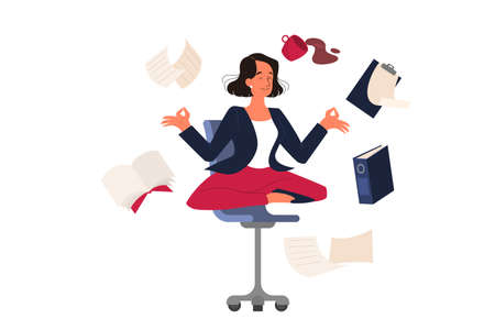 Woman in lotus pose. Employee meditate against stress. Deadline concept. Idea of many work and few time. Flat vector illustration Vecteurs