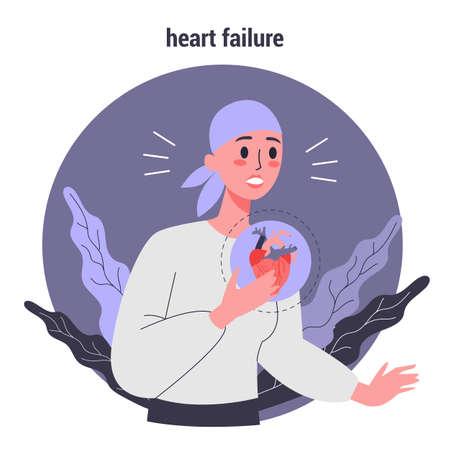 Efectos secundarios de la quimioterapia. El paciente sufre de cáncer. Personaje femenino con insuficiencia cardíaca. Ilustración vectorial en estilo de dibujos animados