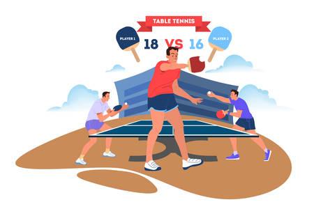 Tischtennisspieler, der einen Schläger hält Ausbildung zum Tischtennisspieler. Sportler im Stadion. Meisterschaftsturnier. Isolierte Vektorillustration im Cartoon-Stil