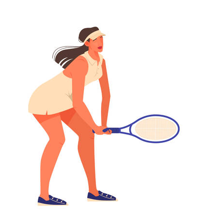 Female tennis player holding a racket on tennis court. Tennis player training. Woman wearing tennis uniform and shoes. Isolated vector illustration in cartoon style