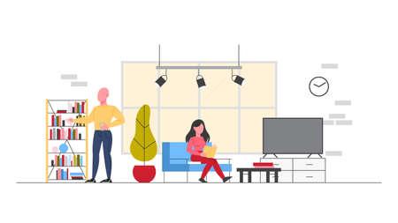 Geschäftsessen im Büro-Ruheraum. Bürosituation. Kollegen, die sich ausruhen, reden und essen. Weibliche und männliche Charaktere machen eine Pause am Arbeitsplatz. Isolierte flache Abbildung