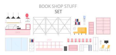 Empty store interior set. Counter, shelves and exposition. Vector flat illustration Ilustrace