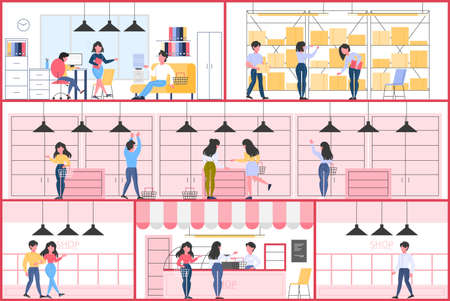 Empty store interior. Counter, shelves and exposition. Visitors in the shop. Vector flat illustration Ilustrace
