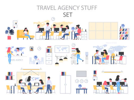 Travel agency building interior stuff set. People sitting at the desk and work on computer. Customer choosing a trip. Tourism center office. Flat vector illustration. 向量圖像