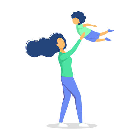 Mother playing with her son. Happy child and mom spend time together. Love and happiness. Isolated vector illustration in cartoon style
