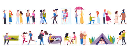Couple on different activity set. Woman and man are in love. Lovers spending time together. Isolated flat vector illustration