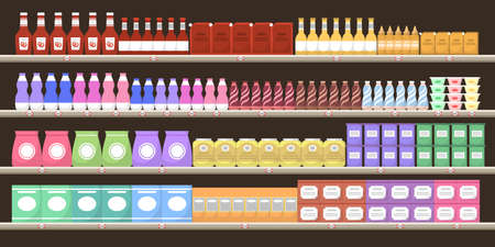 Supermarket shelves with various products. Bottle on shelves. Assortment of groceries in hypermarket. Merchandising concept. Vector illustartion Ilustrace