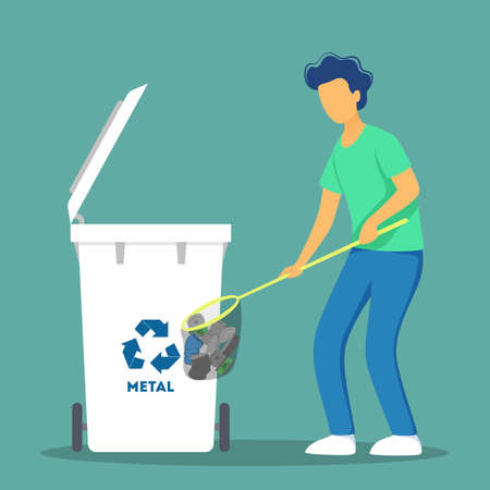 Recycle concept. Ecology and environment care. Idea of garbage reuse. Volunteers picking up and sorting paper and plastic rubbish. Garbage collection with family. Isolated flat vector illustration