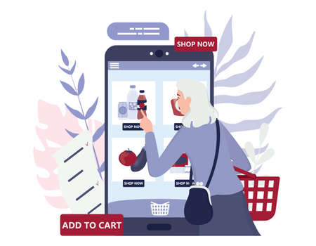 Online shopping using devices. Modern technology, internet and e-commerce web banner. Mobile marketing and PPC technology. Customer service and delivery. Isolated flat vector illustration