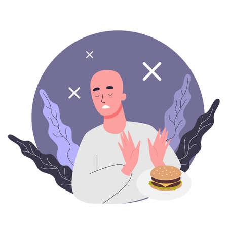 Efectos secundarios de la quimioterapia. El paciente sufre de cáncer. El hombre perdió el apetito. Ilustración vectorial en estilo de dibujos animados Ilustración de vector