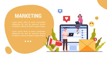 Marketing strategy web banner concept. Advertising and marketing concept. Communication with customer. Business strategy and success. SEO and communucation through media. Vector illustration