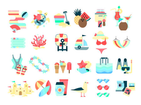 Beach set. Collection of summer vacation stuff. 向量圖像