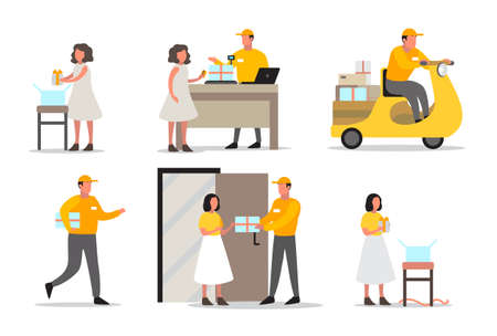 Delivery service concept. Set of delivery man. Collection of courier in uniform holding box. Vector illustration in cartoon style