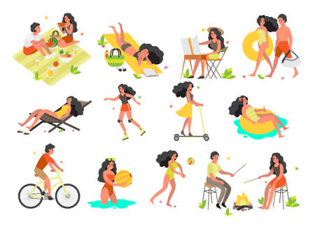 Summer vacation activities set. Swimming, lying on the beach. Riding a bike, skating. Set of isolated illustration in cartoon style Иллюстрация