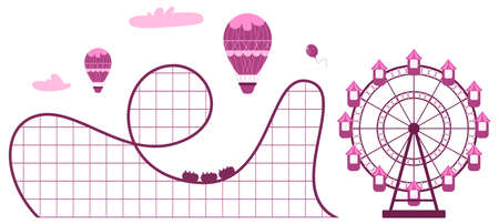 Horizontal banner of amusement park with ferris wheel and roller coaster. Vector illustration in cartoon style