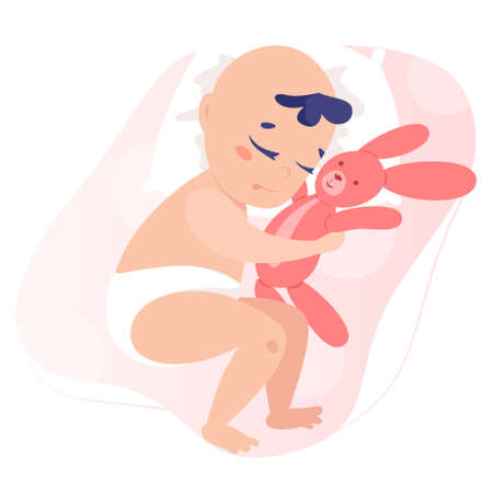 Baby boy isolated vector illustration. Beautiful baby in diaper sleeping and holding a stuffed toy. Little cute child hugging toy.