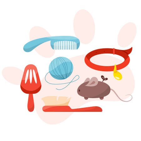 Pet shop set with different goods for dogs and cats. Toy for domestic pet in the store. Puppy and kitten care. Isolated flat vector illustration