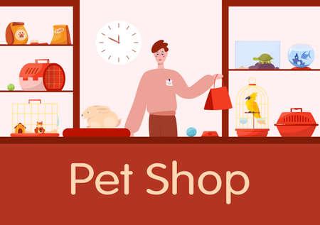 Pet shop counter interior with male worker seller. Illusztráció