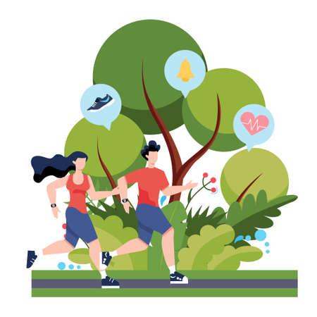 Fitness-Lauf- oder Jogging-Konzept. Idee eines gesunden und aktiven Lebensstils. Immunverbesserung und Muskelaufbau. Isolierte flache Vektorillustration