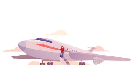 Boarding in airplane concept. Airport staff stand by a plane. Ilustração