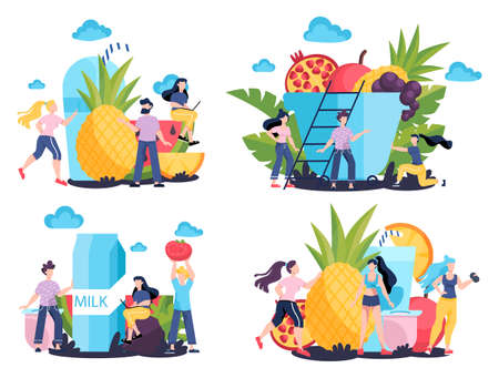 Healthy food concept. Idea of organic menu and natural nutrition. Cooking using fresh ingredient. Body and health care. Healthy lifestyle concept. Isolated vector illustration in cartoon style Foto de archivo - 138183888