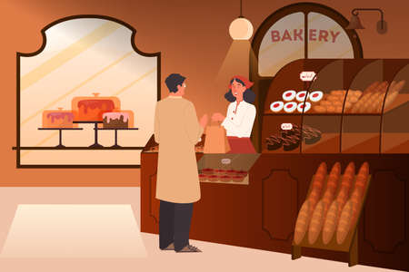 Man buying food in bakery. Bakery building interior Ilustrace