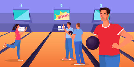 Bowling concept. Man character playing bowling game with ball