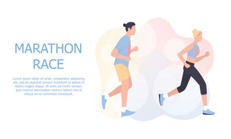 Marathon poster design concept. People run a marathon, jogging man and woman. Foto de archivo - 138192129