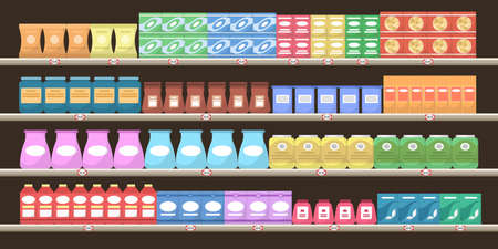 Supermarket shelves with various products. Groceries on shelves. Ilustrace