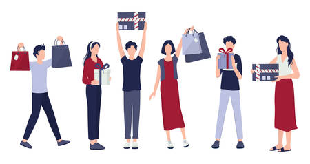 People shopping set. Collection of person with bag and box. Big sale and discount. Grocery or fashion store. Customer with shopping bags. Cheerful buyer. Vector illustration in cartoon style Foto de archivo - 138191937
