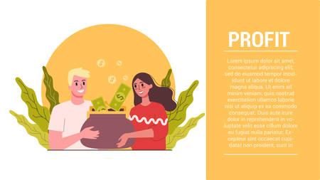 Start up steps. Business profit web banner.