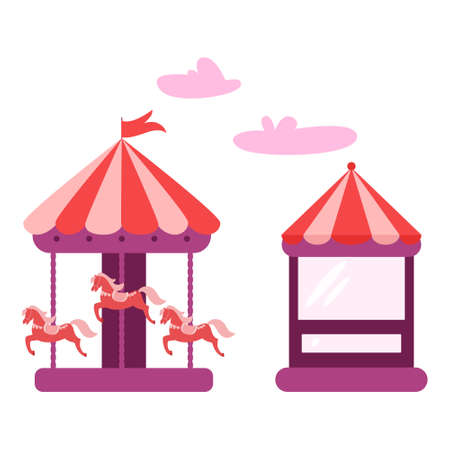 Horizontal banner of amusement park with circus tent. Illustration