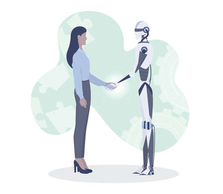Businesswoman and robot shaking hands. Robot character help