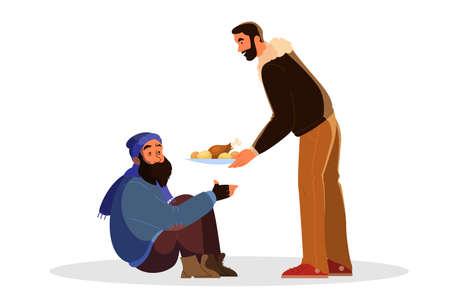 Freiwillige helfen Menschen Idee. Wohltätigkeitsgemeinschaft unterstützt Obdachlose