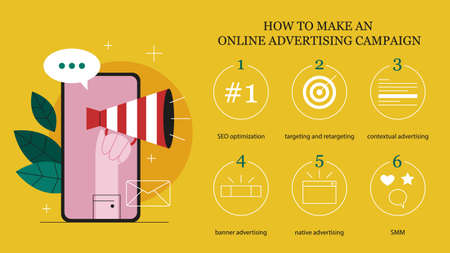 Online advertising concept. How to make an online advertising campaign