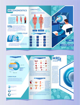 Magnetic resonance imaging advert brochure. Medical research and diagnosis. Modern tomographic scanner. Health care concept. MRI booklet or flyer with infographics. Isolated vector illustration