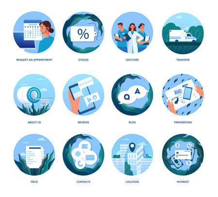 Magnetic resonance imaging website colored icons. Medical research Stock Illustratie