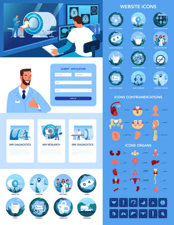 Magnetic resonance imaging advert banner or website set.