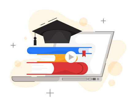 Online education concept. Digital training and distance learning. Ilustracja