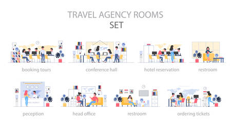 Travel agency room interior. People sitting at the desk